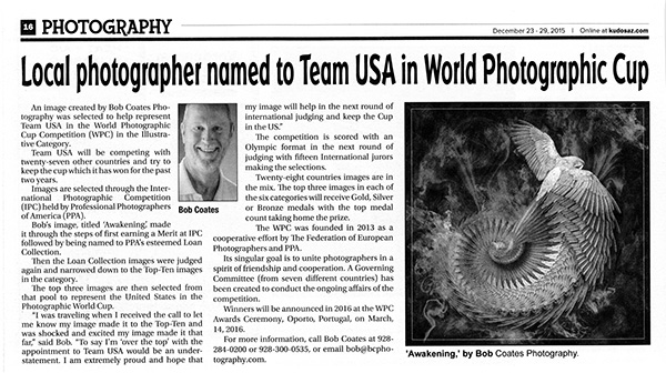 newspaper article in photography section kudos