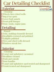 Car Detailing Checklist Graphic Printable