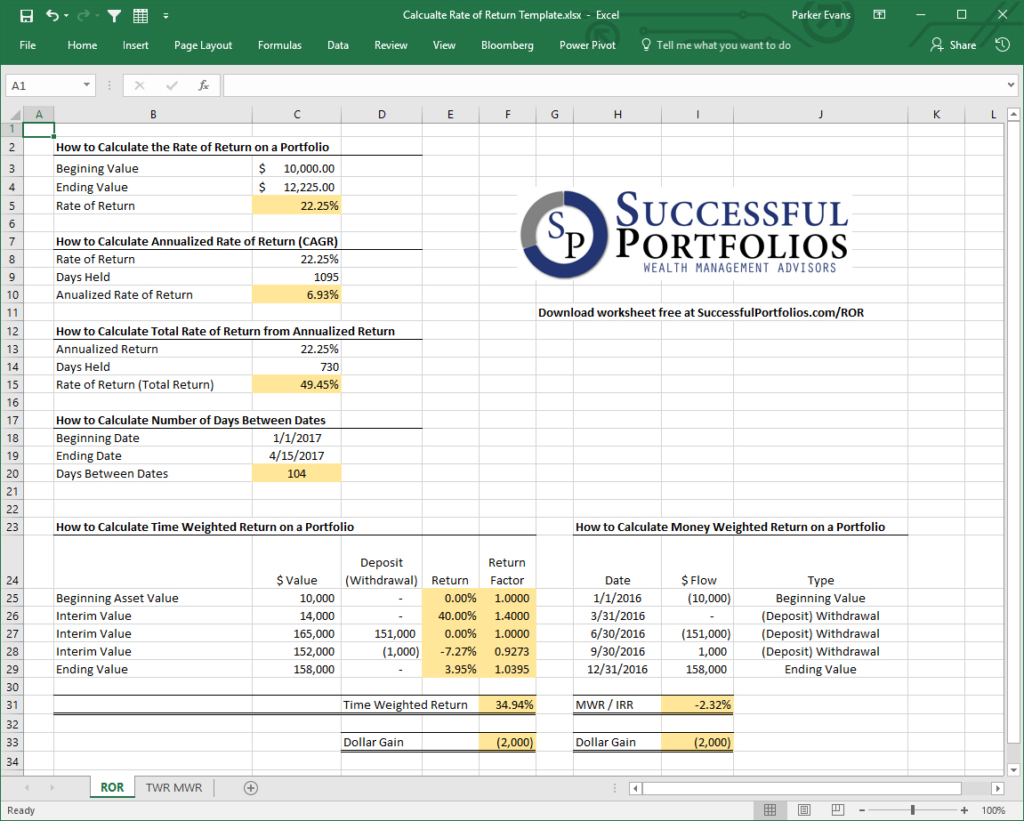 Portfolio Bond Worksheet