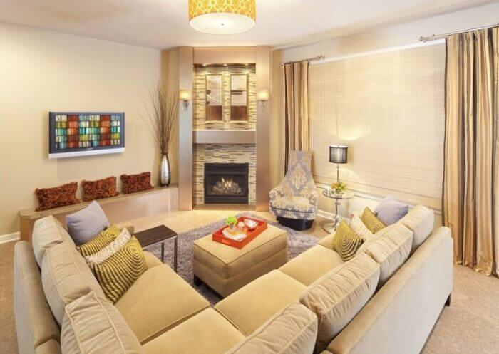 living room designs with corner fireplace gold curtains ideas 19 cozy design in the family