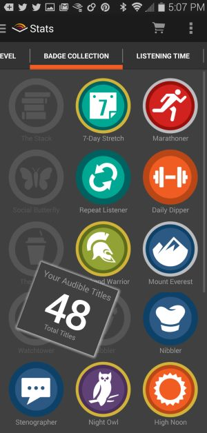 audible badges and number
