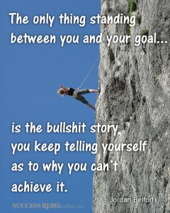 The only thing standing between you and your goal... is the bullshit story you keep telling yourself as to why you can't achieve it. - Jordan Belfort - SuccessRebelution.com