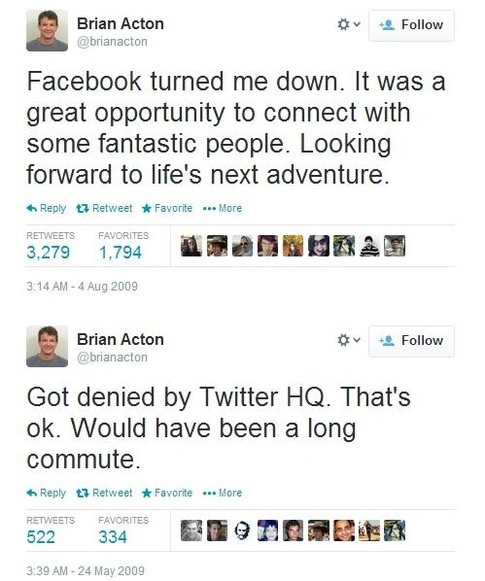 facebook reject Brian Aston - failure
