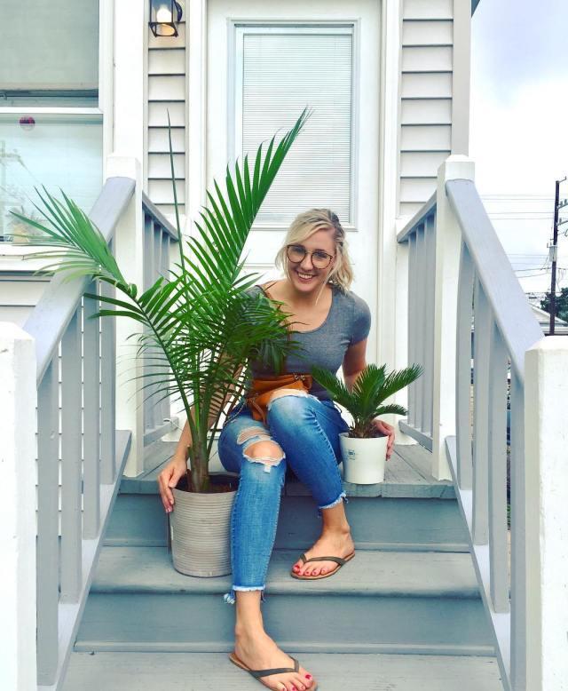 Sago Palm Succulent Next to Blonde Female