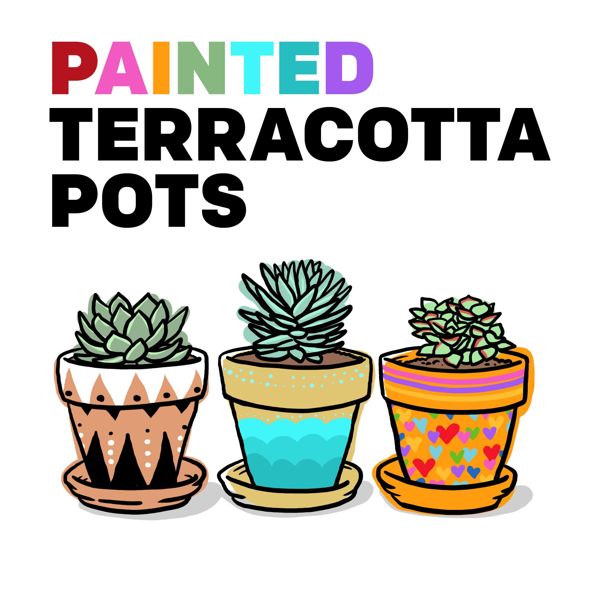 Painting Terracotta Pots for Succulents