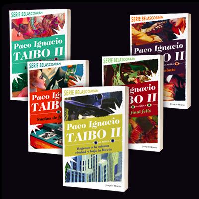 Portada de los libros de la Serie Belascoaran de Paco Taibo II