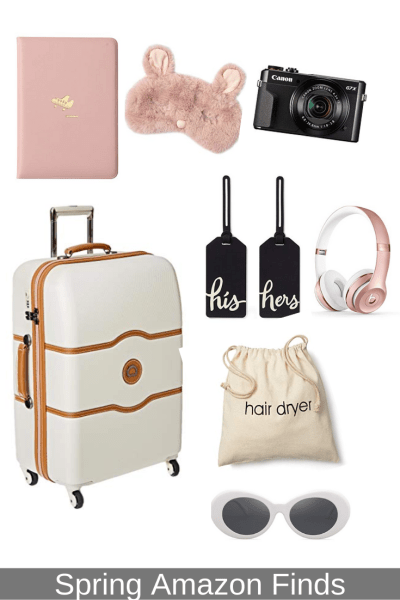 Spring Amazon Finds suitcase and travel items.