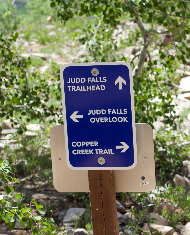 Sign that directs to Judd Falls.