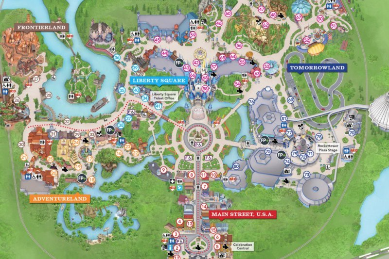 Magic Kingdom Park Map at Walt Disney World.