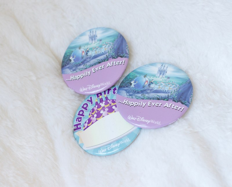 Free souvenir buttons at Disney World.