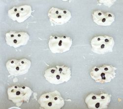 Chocolate covered white ghost Halloween pretzels