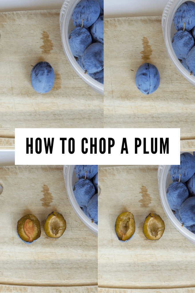 How to chop a plum for vegan plum muffins.
