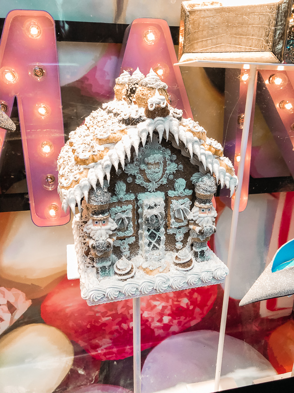 Gingerbread window display in New York City.