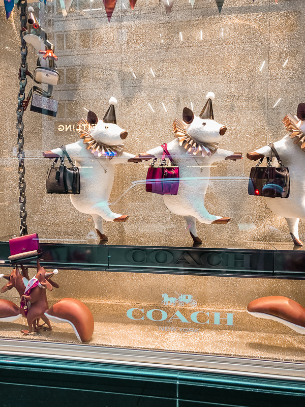 Coach Christmas window display in New York City.