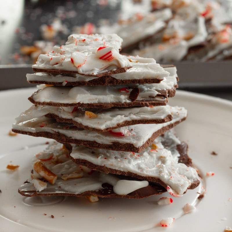 Peppermint Bark with crushed candy canes and pretzels.