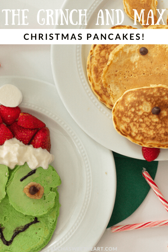 The Grinch and Max the dog / reindeer pancakes. Christmas Breakfast.