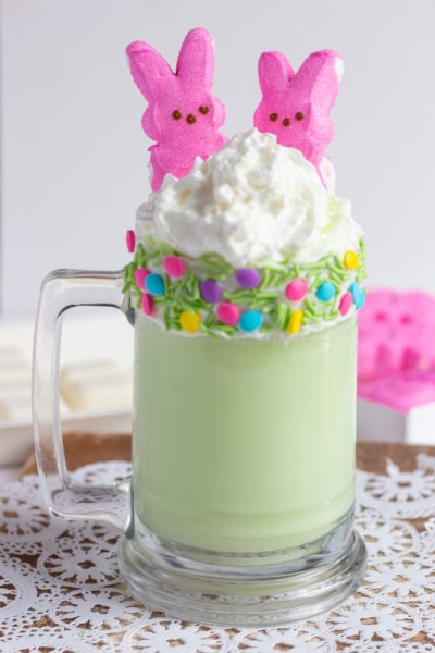 Peeps in a milkshake topped with whip cream.