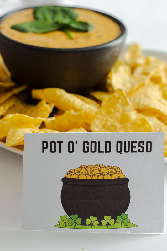 Pot O' Gold Queso with chips and printable.