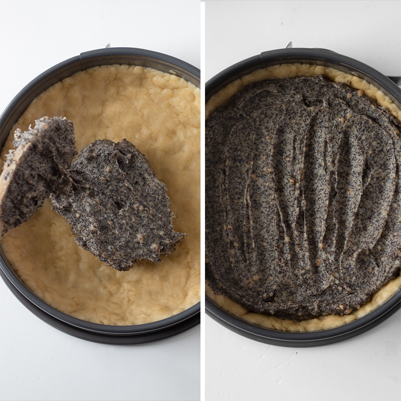 Process of spreading the filling onto the crust.