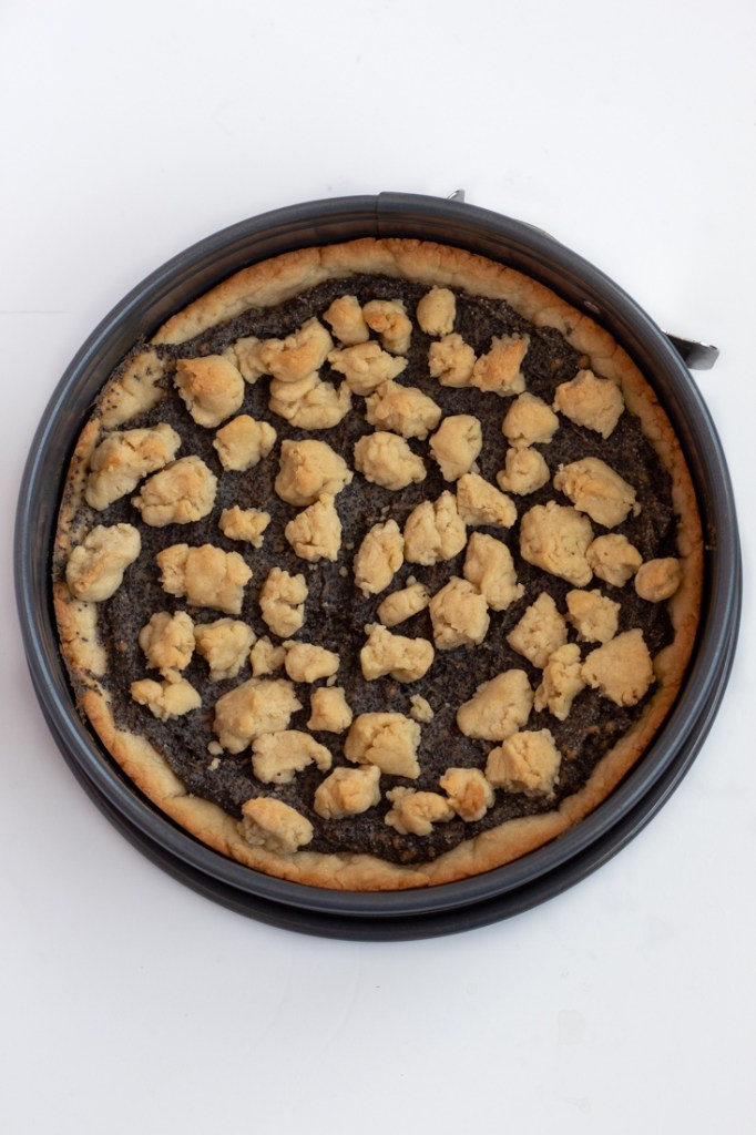 Baked crumble cake from the oven.