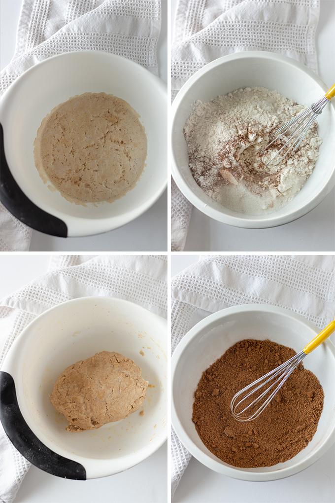 Process shots of mixing together dry and wet ingredients.