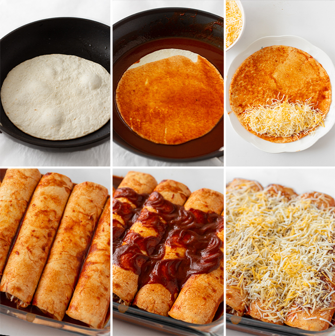 How to make cheese enchiladas process shots.