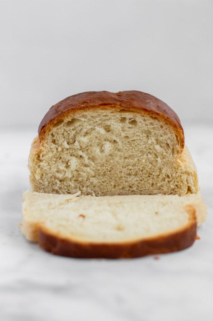 Front shot of sliced white bread.