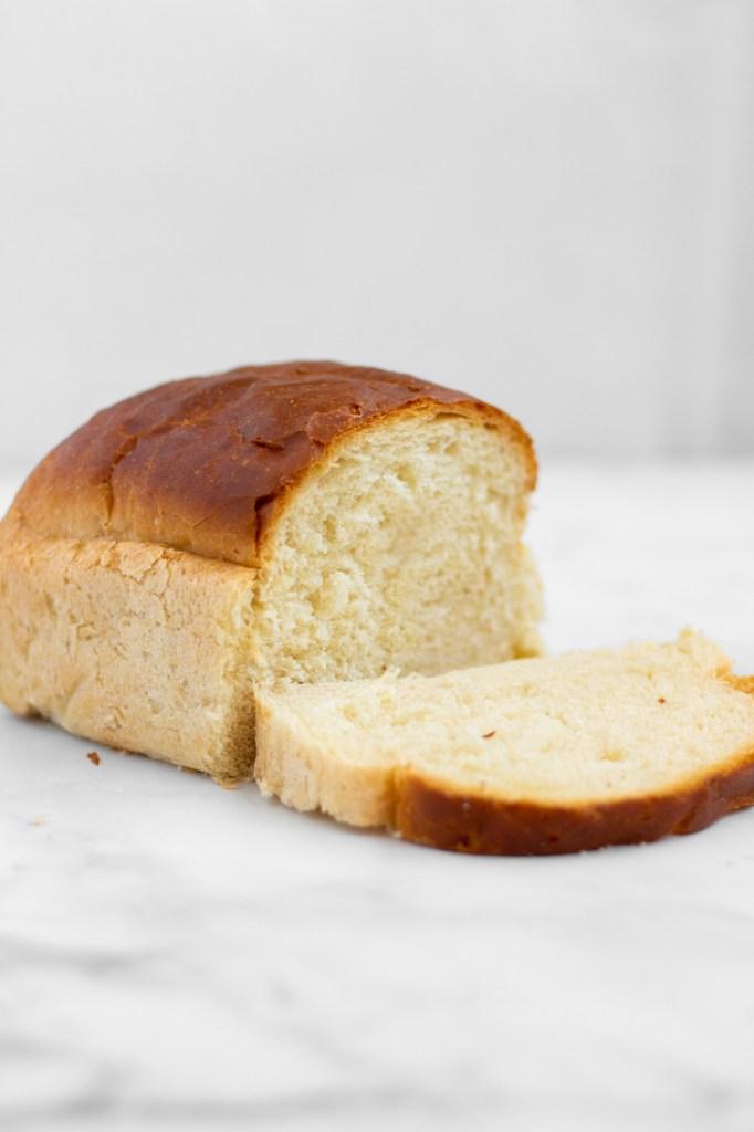 Side shot of white bread.