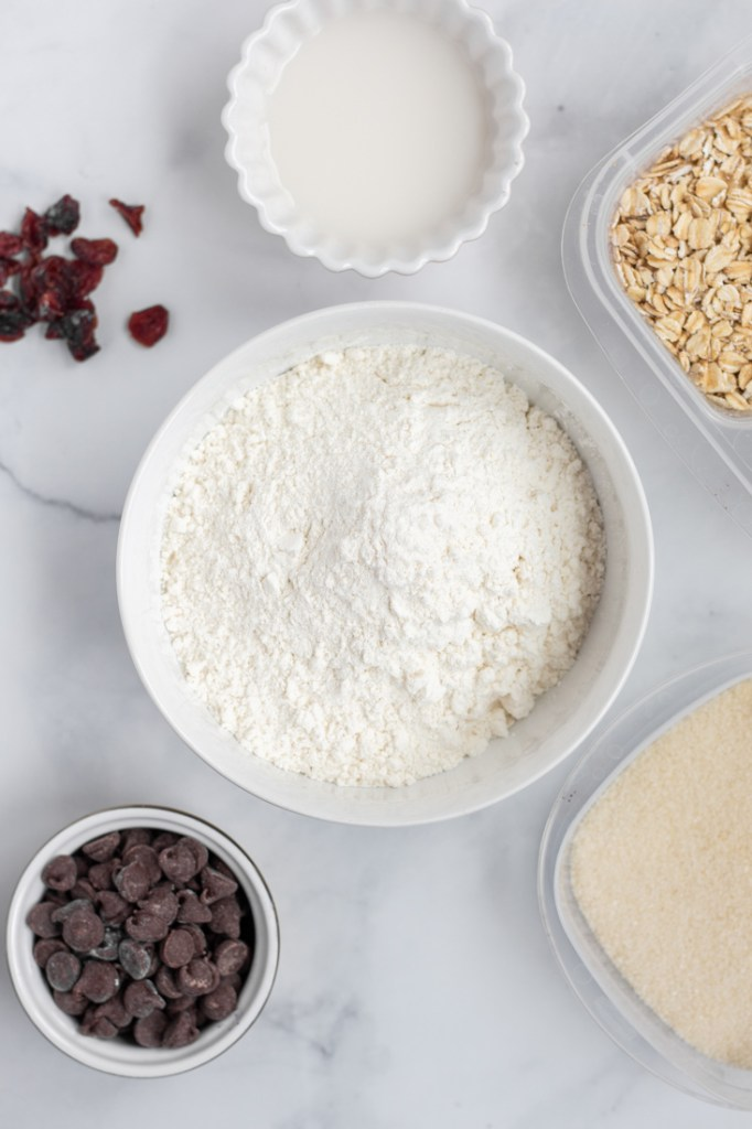 Ingredients for Chocolate Chip Coconut Cookies