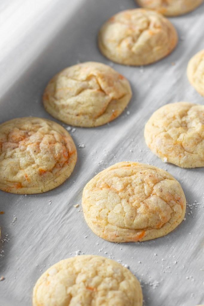Row of orange sugar cookies.