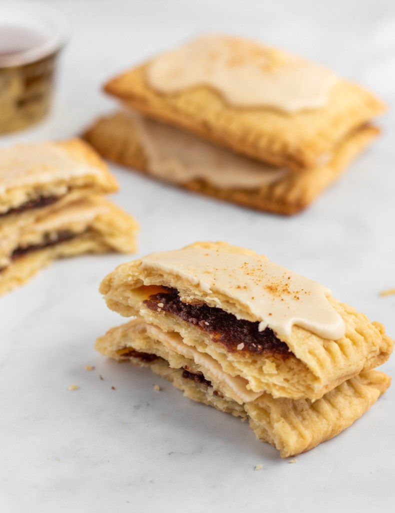 Half open homemade Pop Tarts.