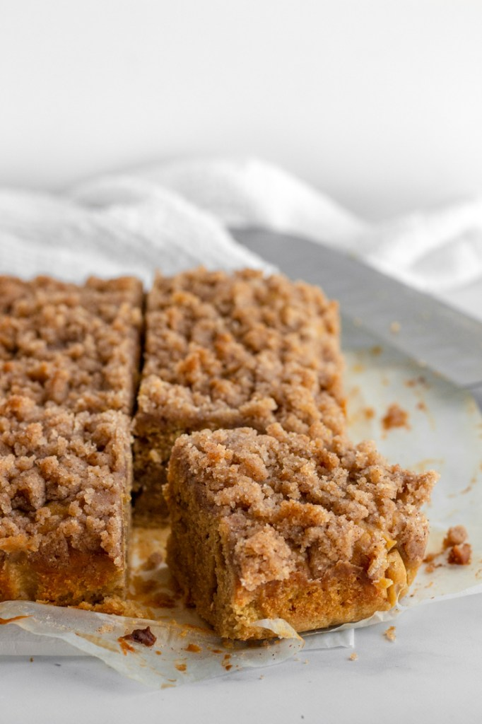 Slice of cinnamon streusel cake.
