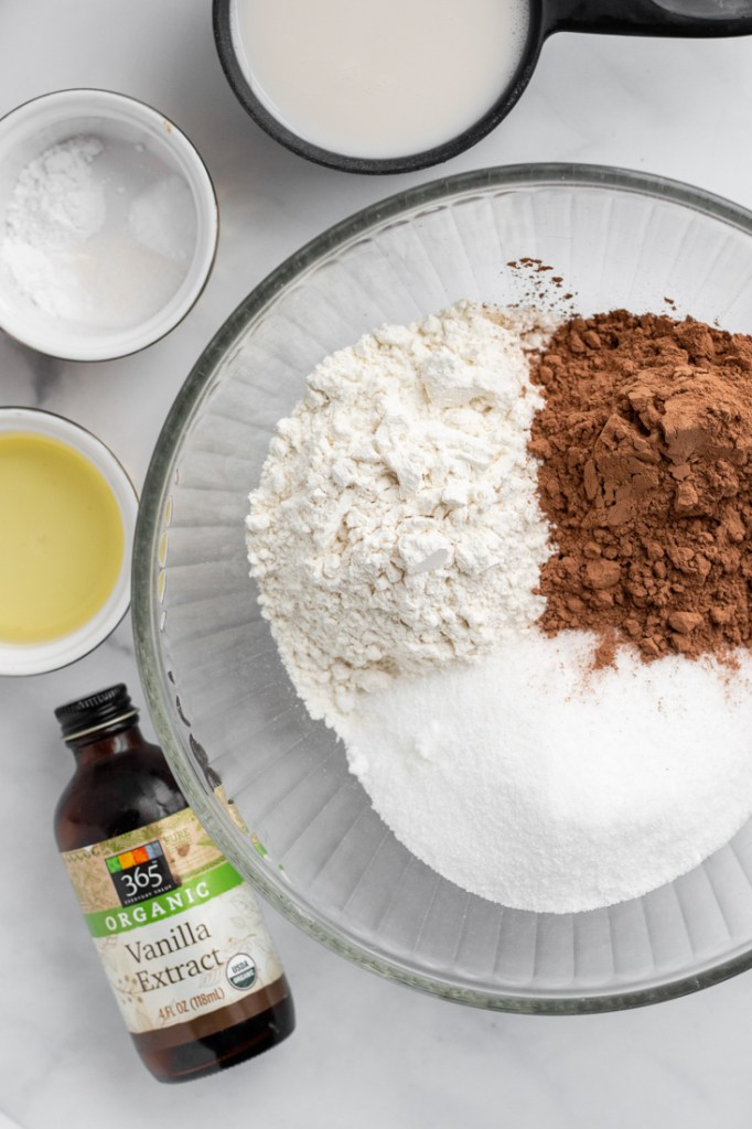 Ingredients for Instant Pot Chocolate Cake egg-free.