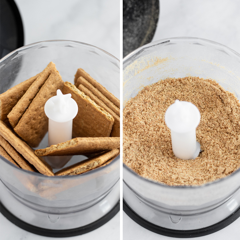 Graham crackers being crushed in a food processor.