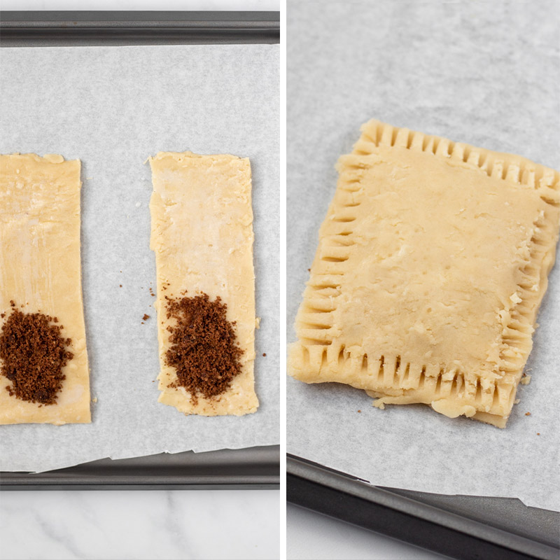 Filling the Pop Tart with brown sugar and cinnamon.
