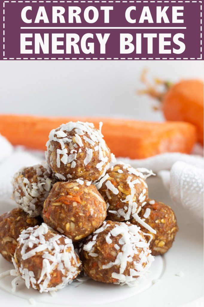 Carrot Cake Energy Bites Pinterest Pin.