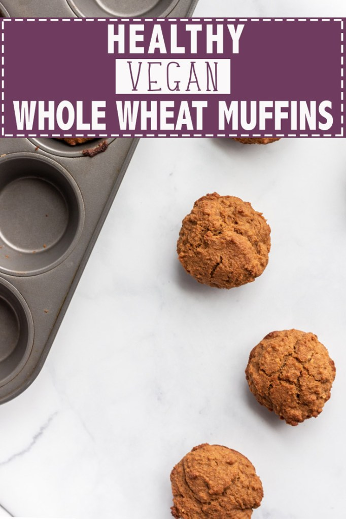Healthy vegan whole wheat muffins.
