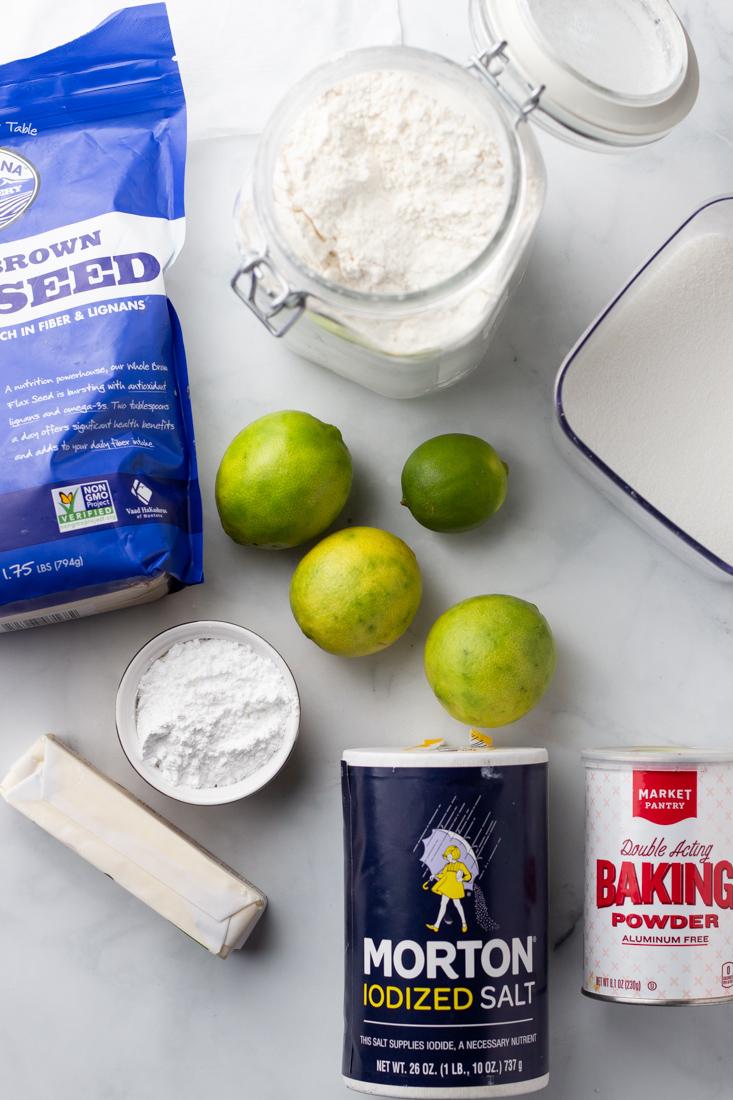 Ingredients of lime cookies.