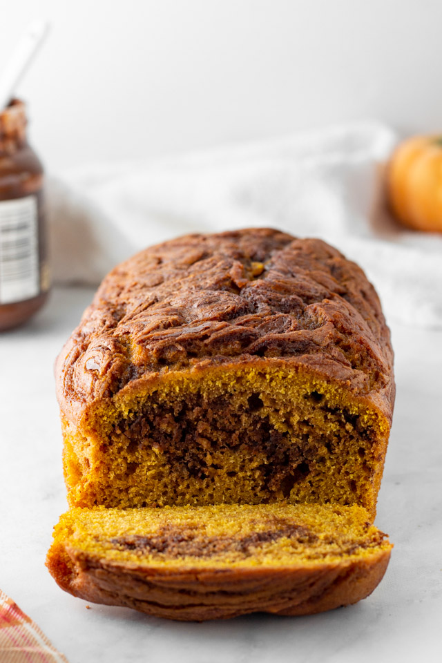 Inside of pumpkin Nutella bread.