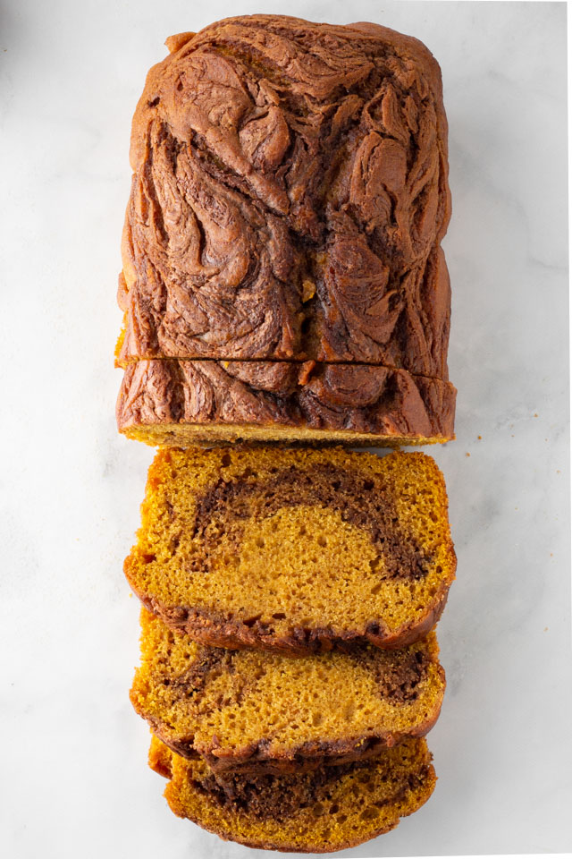 Pumpkin Nutella Bread sliced.