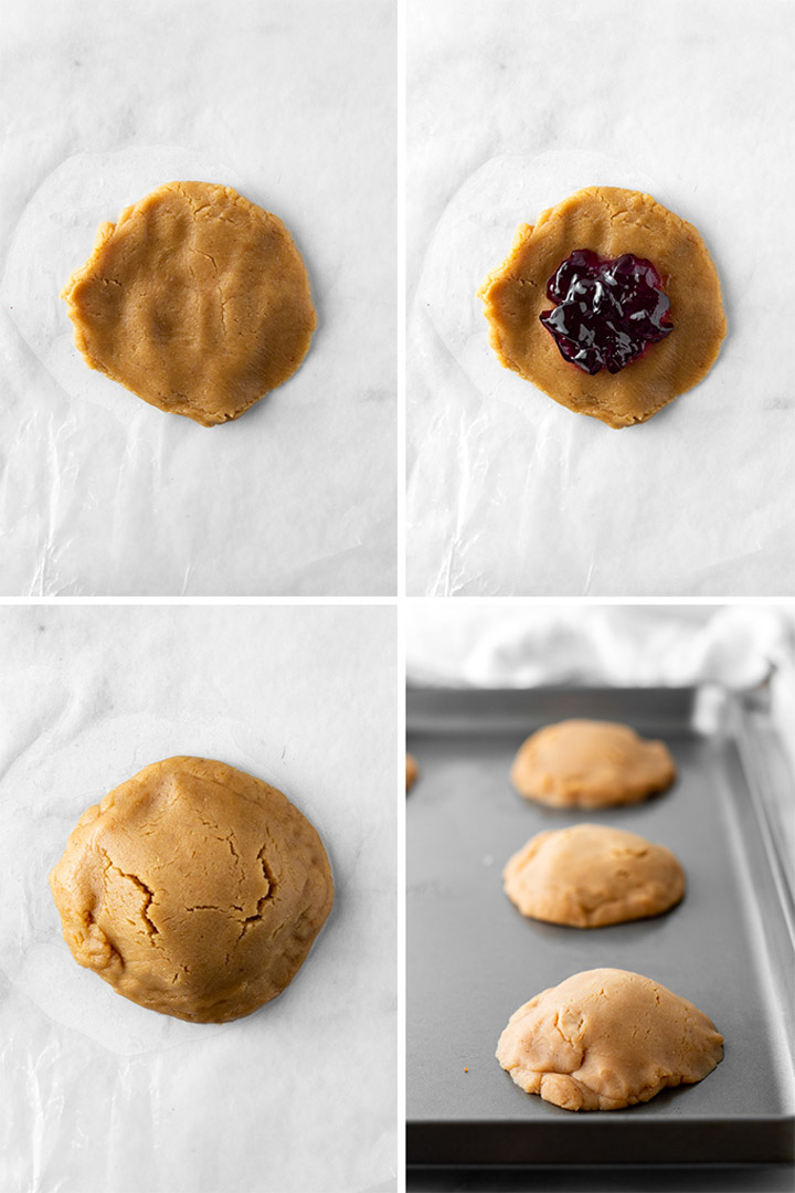 How to make peanut butter and jelly filled cookies collage.