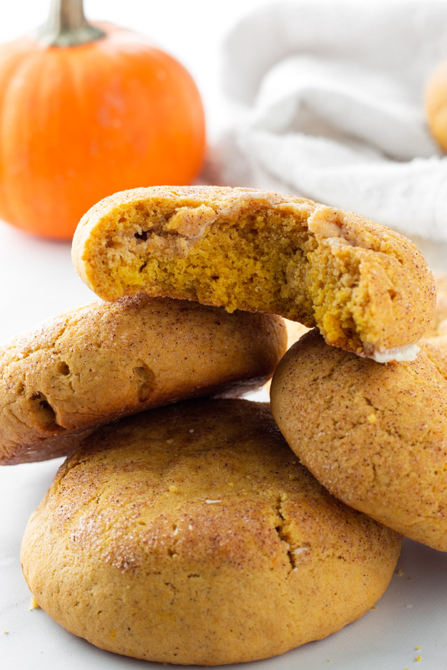 Pumpkin snickerdoodles stacked.