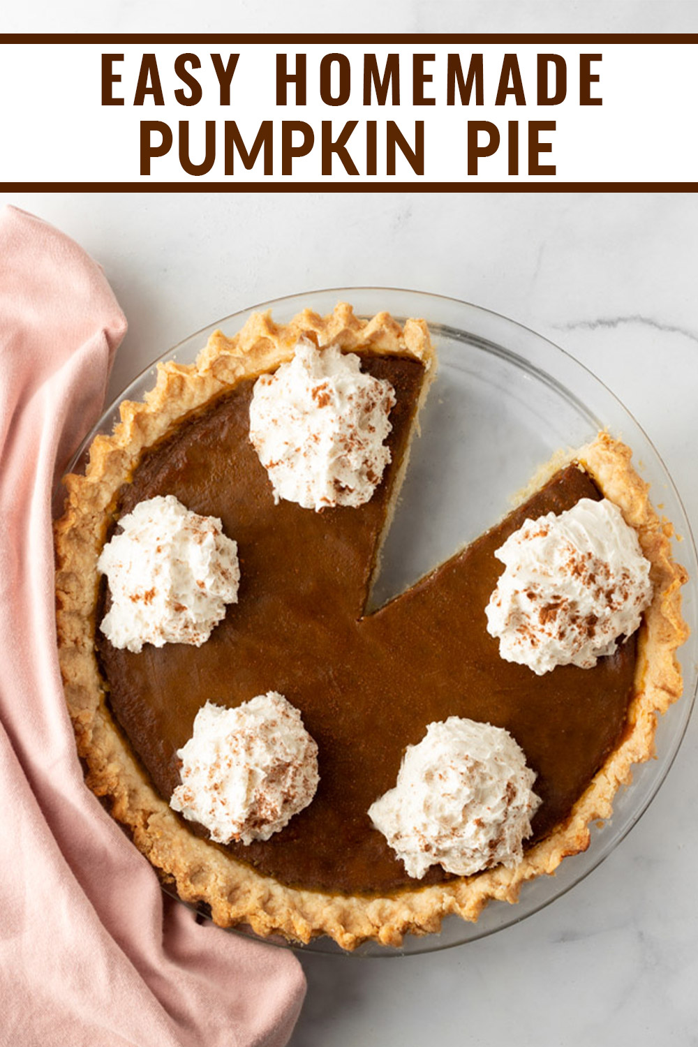 Easy Homemade Pumpkin Pie Pinterest Pin.
