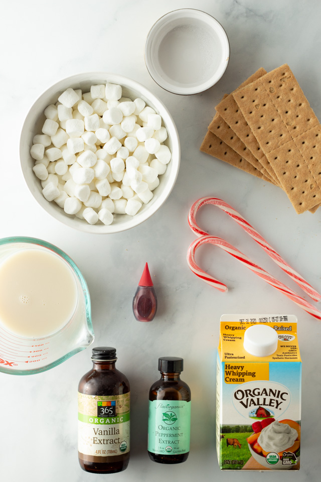 Ingredients for peppermint pie.