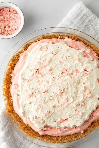 Peppermint Pie with a small bowl of peppermint pieces.