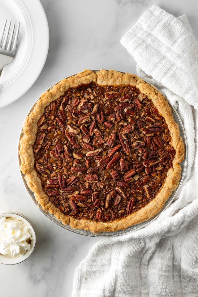Pecan Pie with a white napkin.