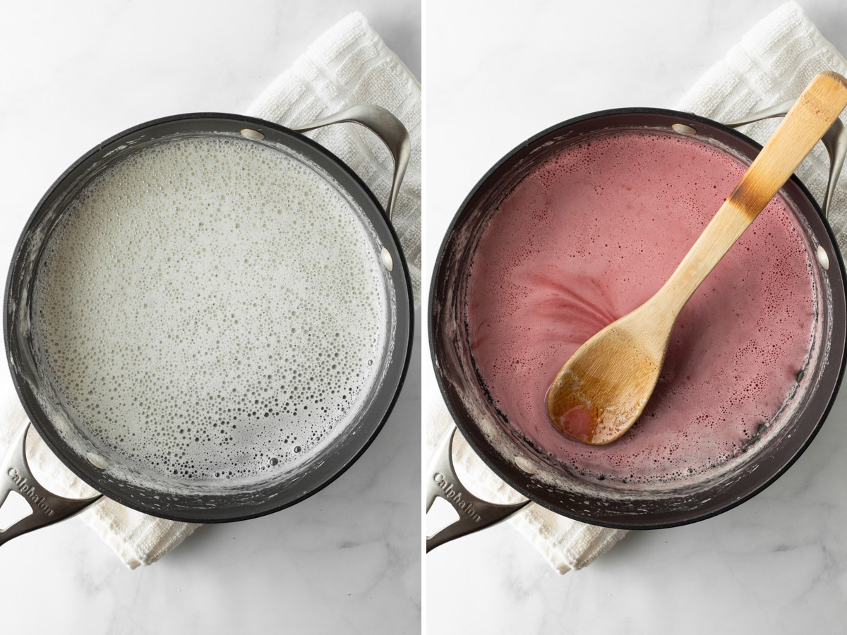 Left: Milk in a saucepan bubbling on the sides. Right: adding food coloring.