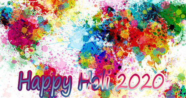 happy holi 2020 to the each person of the world. Share this image on whatsapp and facebook. It has a colorful map.