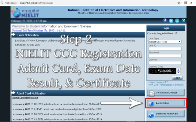Step 2 - NIELIT CCC Online Registration June 2020 Admit card, exam date, result, certificate
