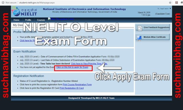 Step 2 - NIELIT O Level Exam form July 2020 Apply online